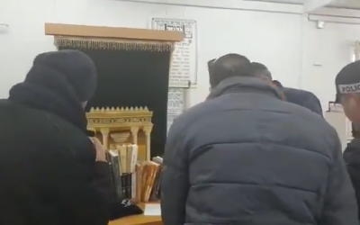 Video shows police raiding a yeshiva in the West Bank where students are accused of terrorism. (Credit: Screenshot from video by Honenu, which provides legal aid to Israeli soldiers and civilians in distress)