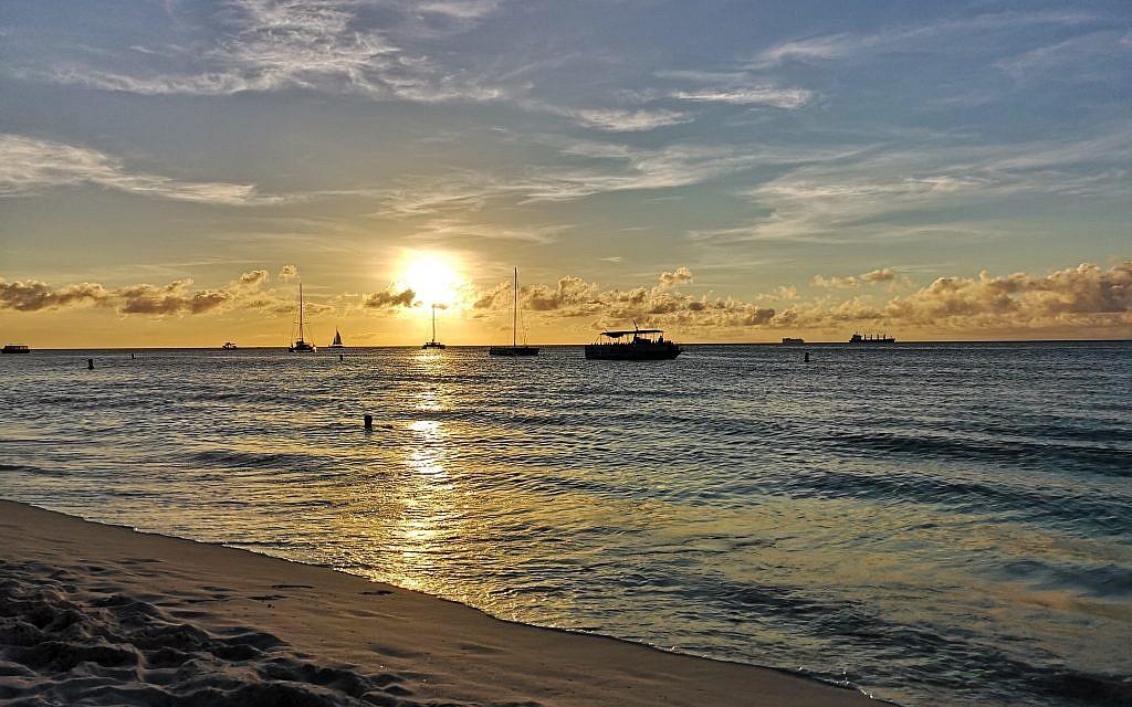 Beautiful palm beach sunset in Aruba