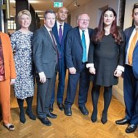 Labour MPs (left to right) Ann Coffey, Angela Smith, Chris Leslie, Chuka Umunna, Mike Gapes, Luciana Berger and Gavin Shuker after they announced their resignations. Photo credit: Stefan Rousseau/PA Wire