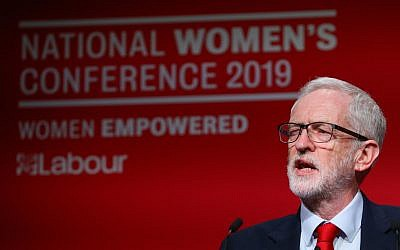 Labour Leader Jeremy Corbyn during a speech at Labour Women's Conference in the Telford International Centre. Photo credit: Aaron Chown/PA Wire