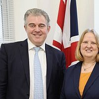 Anne Meadows (left) with Tory Chairman Brandon Lewis