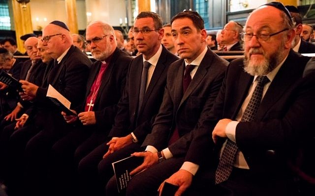 R-L: Chief Rabbi Ephraim Mirvis, Senior Rabbi Joseph Dweck, Ambassador Mark Regev, Rt Revd Graham Kings, Honorary Assistant Bishop in the Diocese of Southwark (Church of England), The Rt Hon. the Lord Pickles, United Kingdom Special Envoy for post-Holocaust issues, David Dangoor and Sabah Zubaida.  (Credit: MART Photography-Tammy Kazhdan)