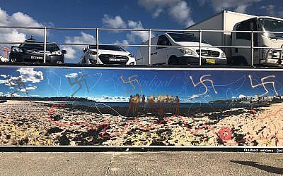 Some of the 20 swastikas discovered on Bondi Beach (Twitter)