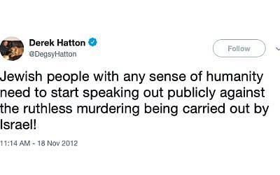 Controversial tweet sent by Derek Hatton