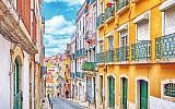 Lisbon, Portugal with colourful traditional houses