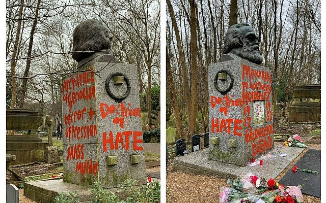 Picture courtesy of Maxwell Blowfield, of the grave of Marxist philosopher Karl Marx in Highgate Cemetery, London, which has been defaced for the second time this month, with slogans such as 'doctrine of hate'. Photo credit: Maxwell Blowfield/PA Wire