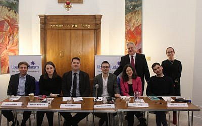 The panel hosted by Liberal Judaism, with Liberal Judaism and Charley Baginsky standing