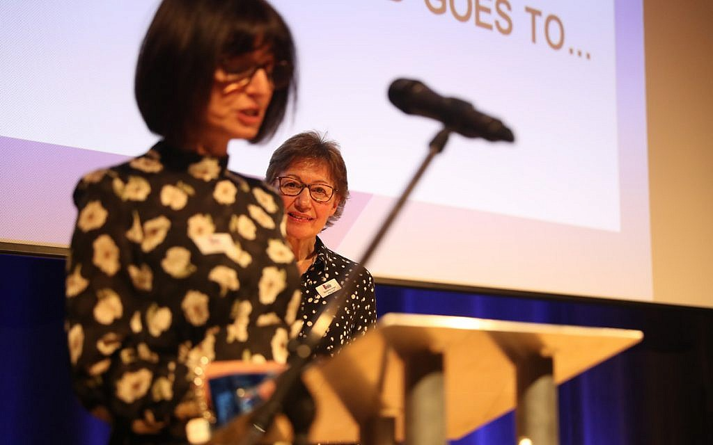 Suzanne Singer of Mathilda Marks-Kennedy Jewish Primary School and Mrs Nichole Craig of Akiva win the Outstanding Practice in Foundation Stage award!at the Jewish Schools Awards (Marc Morris Photography)