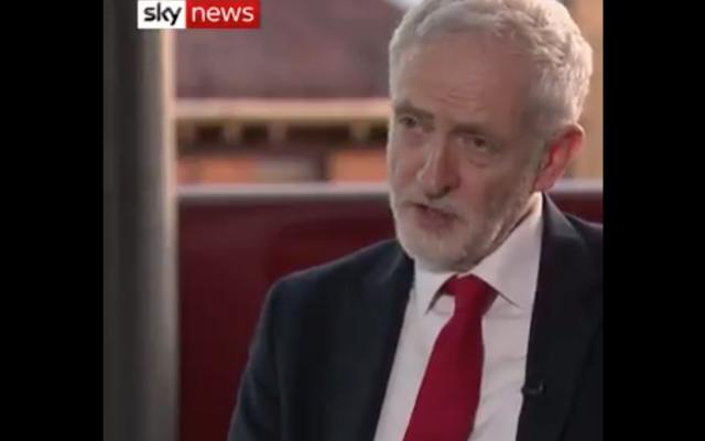 Jeremy Corbyn speaking on Sky News
