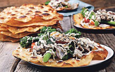 Tuna tortilla with tahini dressing
