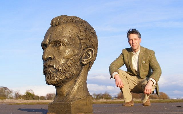 Anthony Padgett with the sculpture of Vincent Van Gogh to be displayed at the hospital in France where the Dutch painter was treated