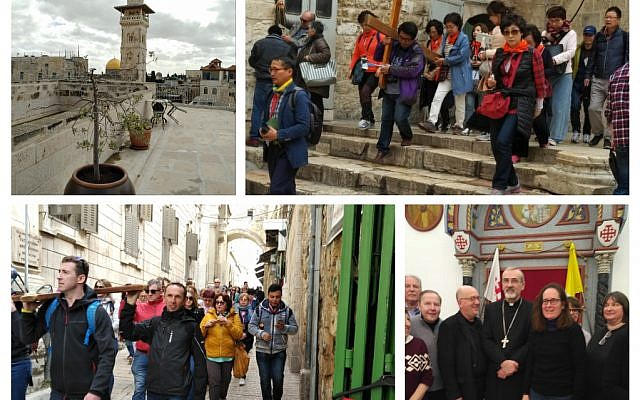 Top left: View from Ecce Homo convent in Muslim quarter of old city, At the holy sepulchre, Christian pilgrims on the via dolorosa and with the Latin Patriarch and ICCJ delegation HE Archbishop Pierbatista Pizzaballa  (Jewish News)