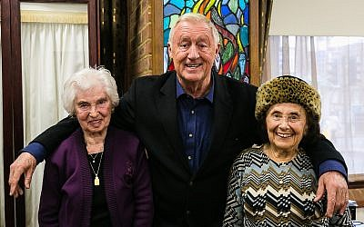Chris Tarrant with survivors Rene Salt and Lily Ebert