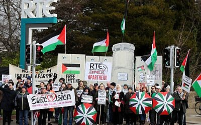 People take part in a Boycott the Eurovision in Israel protest organised by Palestinian rights campaigners at RTE Studios in Dublin. Photo credit: Brian Lawless/PA Wire
