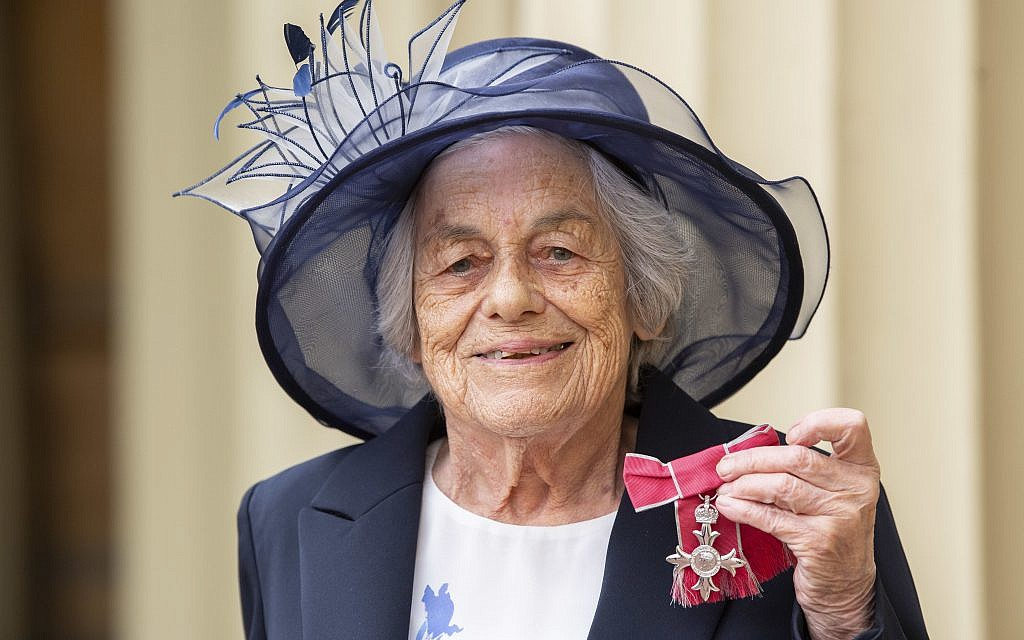 Vera Schaufeld with her MBE for services to Holocaust education at an investiture ceremony at Buckingham Palace, London. Photo credit: Victoria Jones/PA Wire