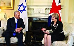 Prime Minister Theresa May with Israeli Prime Minister Benjamin Netanyahu at a meeting in 10 Downing St, London.