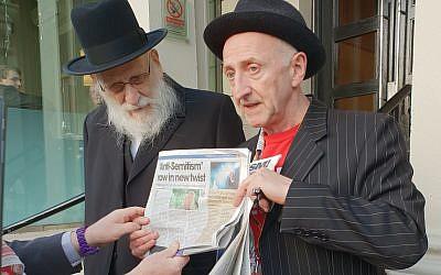 Peter Gregson with Neturei Karta Rabbi Ahron Cohen,