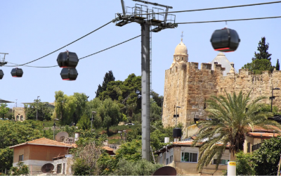A mock-up of how the cable car will look, taken from a film by NGO Emek Shaveh