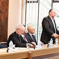 Chief Rabbi Ephraim Mirvis addressing London Central Mosque on Monday, with Sadiq Khan, London Mayor, Sajid Javid, Home Secretary, and Justin Welby, the Archbishop of Canterbury alongside him