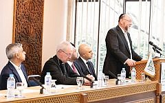 Chief Rabbi Ephraim Mirvis addressing London Central Mosque on Monday, with Sadiq Khan, London Mayor, Sajid Javid, Home Secretary, and Justin Welby, the Archbishop of Canterbury alongside him