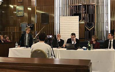 Dame Margaret Hodge addressing the JLM Extraordinary General Meeting (JLM on Twitter)