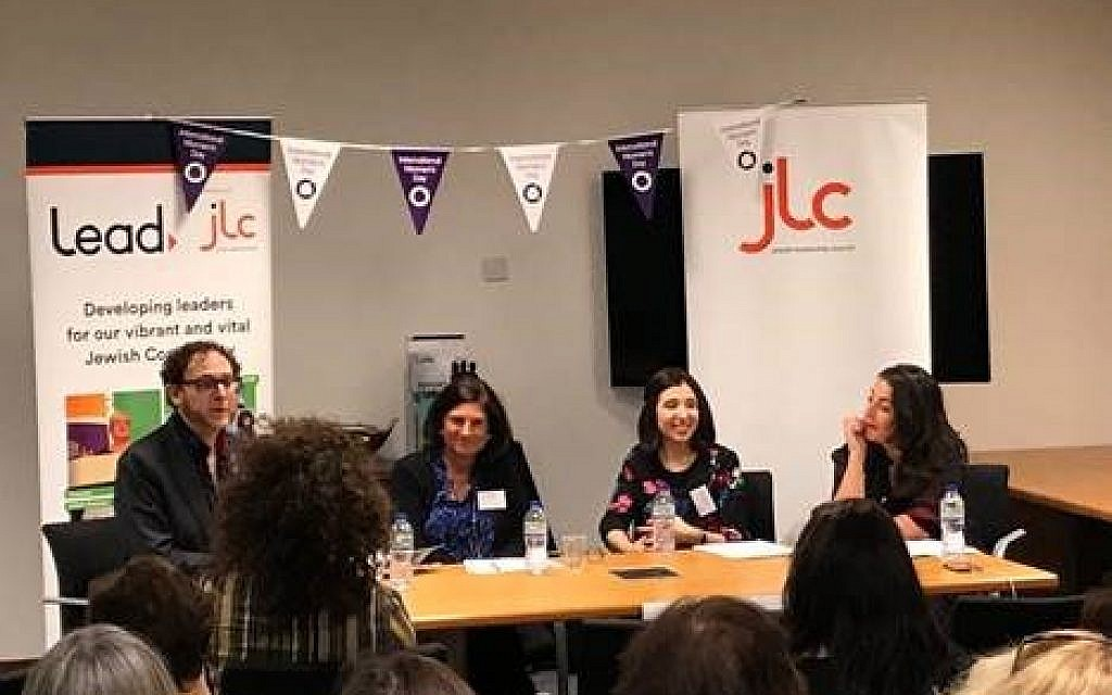 Yael Simon, from the Jewish Women's Business Network, the Jewish Chronicle's Rosa Doherty and Naomi Dickson, from Jewish Women's Aid. On the left is JW3 CEO Ray Simonson