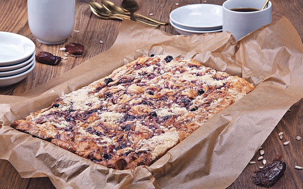 Plate  Fig, date, sunflower seed yoghurt cake