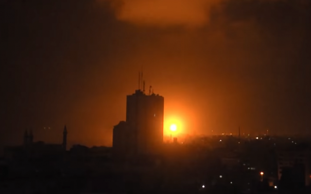 Screenshot from RUPTLY of reported IDF strikes in Gaza