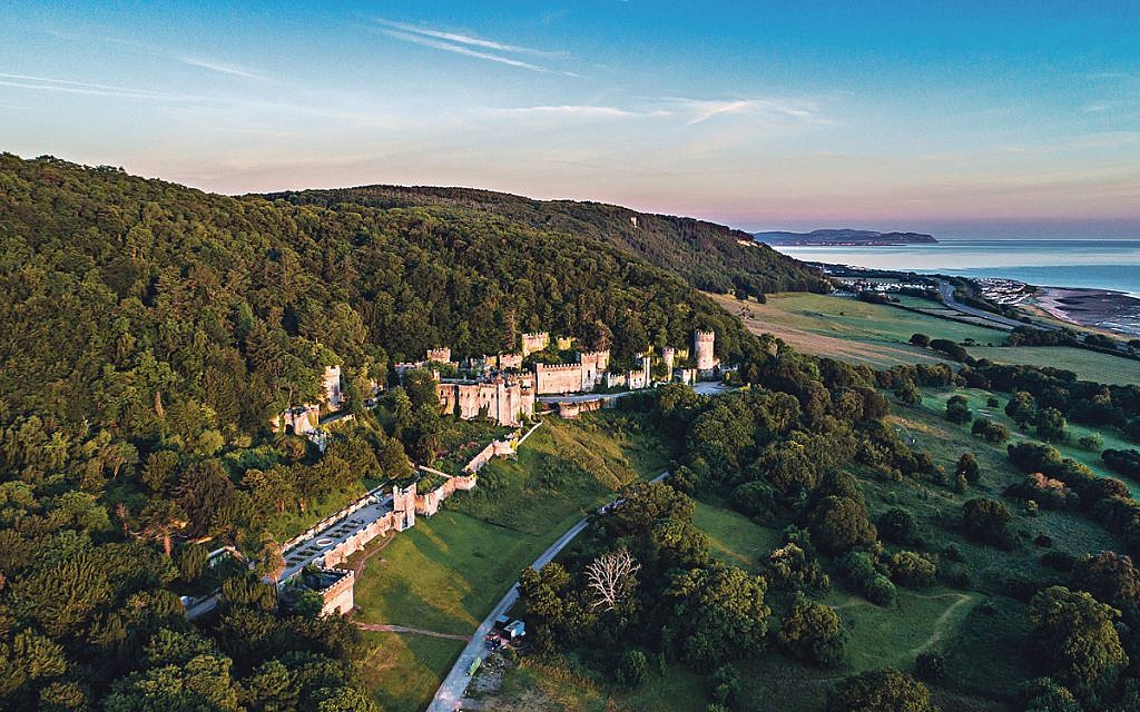 The Grade 1 listed Gwrych Castle in Abergele from the air