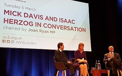 Joan Ryan (centre) hosting the event at JW3 with Sir Mick Davis (right) and Isaac Herzog (left) (Credit:  Raymond Simonson)