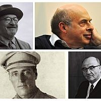 Top: Chaim Weizmann and Natan Sharansky. Bottom: Joseph Trumpeldor and Levi Eshkol