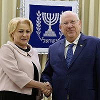 President of Israel, Reuven Rivlin, In a meeting with the head of the Romanian government, Viorica Dăncilă (Spokesperson unit of the President of Israel)