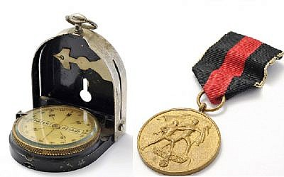 A compass manufactured by Bezard/Gotthilf Lufft, said to have been used by Schindler and his wife Emilie while fleeing Russian troops in 1945 and a 1938 Sudetenland Medal awarded to Schindler, who had aided in the annexation and occupation of the Sudetenland as a spy for the German government