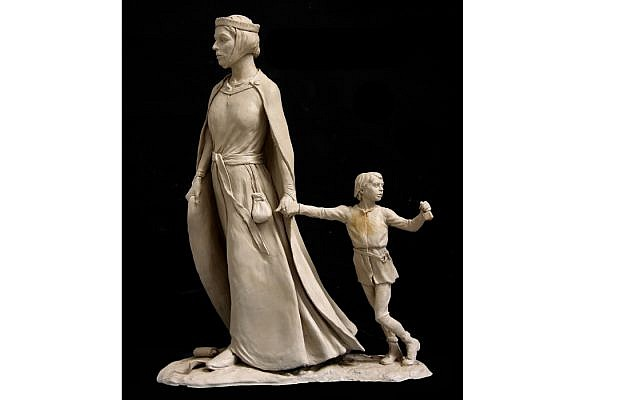 Statue of Licoricia of Winchester with her son Asser, designed by classically trained sculptor Ian Rank-Broadley