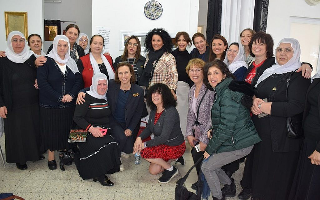 Druze members of Daliat El Carmel's WIZO group with delegates from the UK