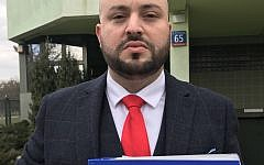 Jonny Daniels outside the Polish prosecutor's office handing in files - urging the government to ban David Irving from entering the country.