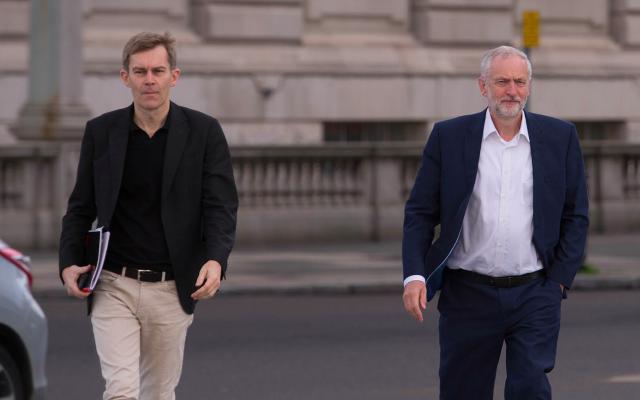 Seamas Milne and Jeremy Corbyn. Milne denies having leaked the document