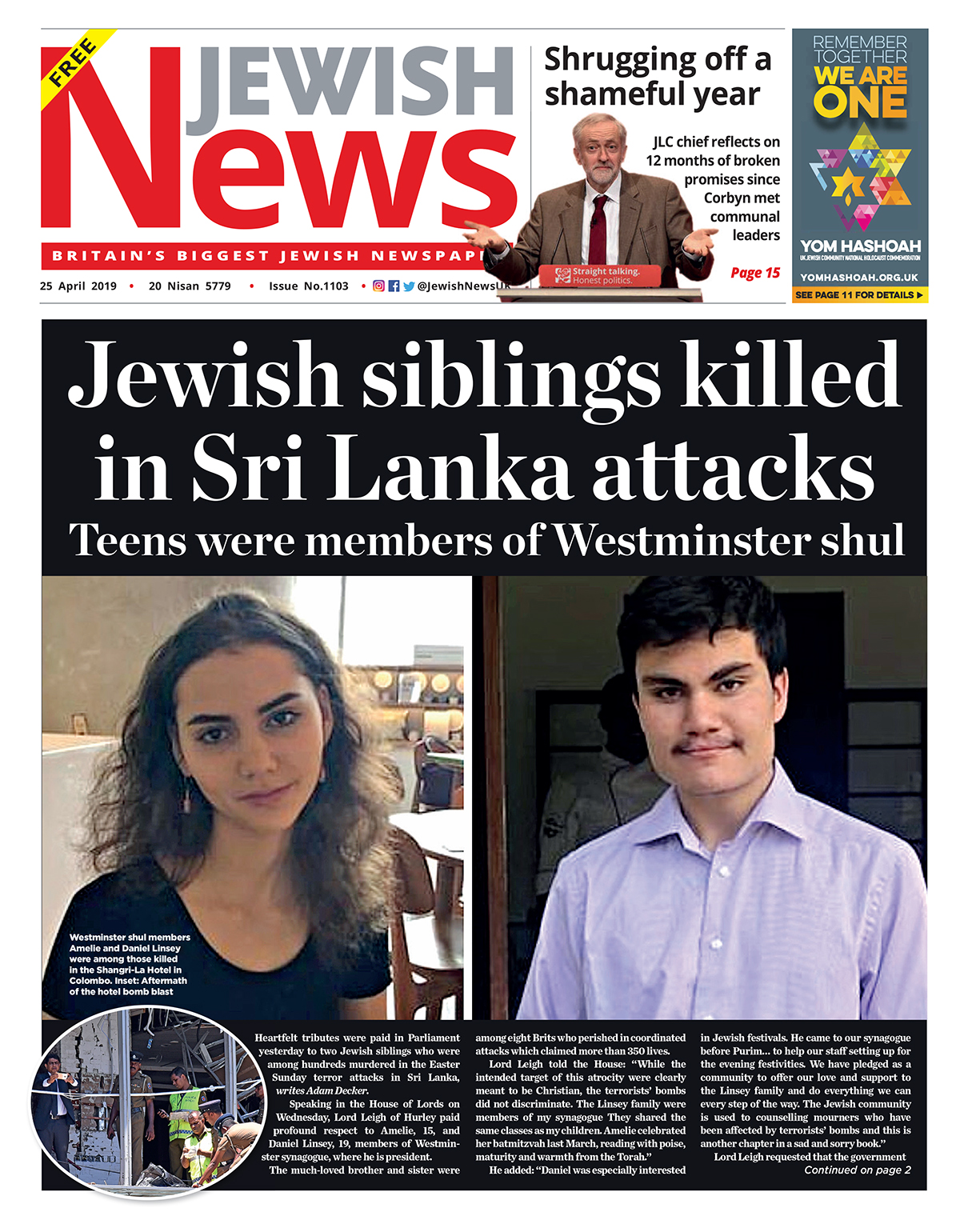 Teenagers Daniel and Amelie Linsey were members of Westminster synagogue, and were among the eight Brits killed during the Easter Sunday atrocity