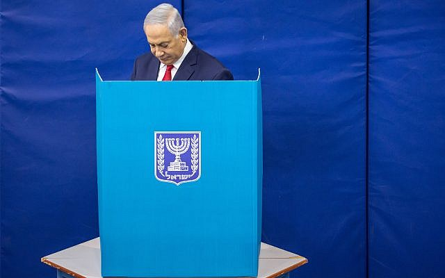 Israel's Prime Minister Benjamin Netanyahu casts his vote during Israel's parliamentary election in Jerusalem April 9, 2019. Photo by: Emil Salman-JINIPIX
