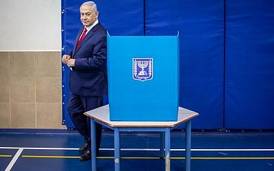Israel's Prime Minister Benjamin Netanyahu casts his vote during Israel's parliamentary election in Jerusalem April 9, 2019. Photo by: Emil Salman-JINIPIX