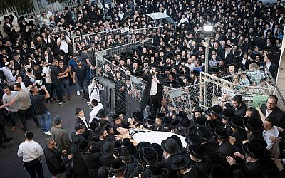 Ultra Orthodox followers of Rabbi Menachem Mendel Taub of the Kaliv (Hasidic dynasty) attend his funeral in Jerusalem, on April 28, 2019. Grand Rabbi Menachem Mendel Taub of the Kaliv (Hasidic dynasty), passed away at the age of 96. Photo by:JINIPIX
