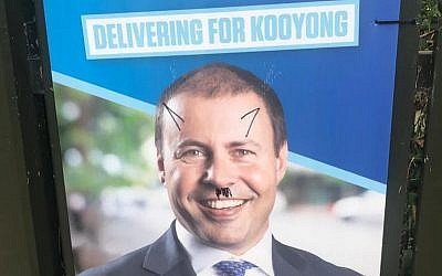 A campaign poster with the words right wing fascist written across Josh Frydenberg's face.  Photo source: https://www.abc.net.au/news/2019-04-04/josh-frydenberg-campaign-posters-anti-semitic-vandalism/10972658