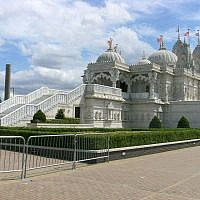 BAPS Shri Swaminarayan Mandir London is the largest Hindu temple of England, in Neasden. (Credit: Mark Ahsmann/Wikipedia)