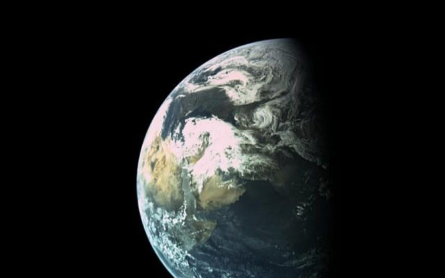Picture by @TeamSpaceIL on Twitter, shows the earth from the Israeli beresheet craft.