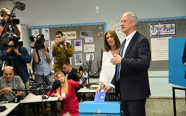 Benny Gantz votes in the election.  (Credit: Sraya Diamant, Blue and White campaign)
