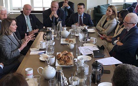 Nancy Pelosi meeting Jeremy Corbyn and senior Labour politicians