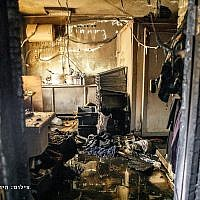 The inside of the burned out yeshiva in Moscow (credit: Hirsch Kotovskiy via @avitalrachel)