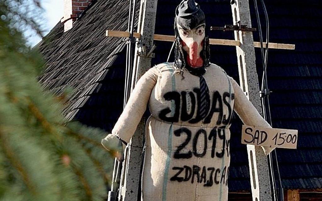 Polish town burns Judas effigy resembling Orthodox Jew