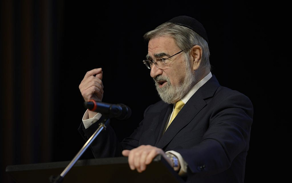 "Rabbi Lord Sacks speaking at JW3 at it's '""Exploring Belief"" event (Simon Brandon Photography )"