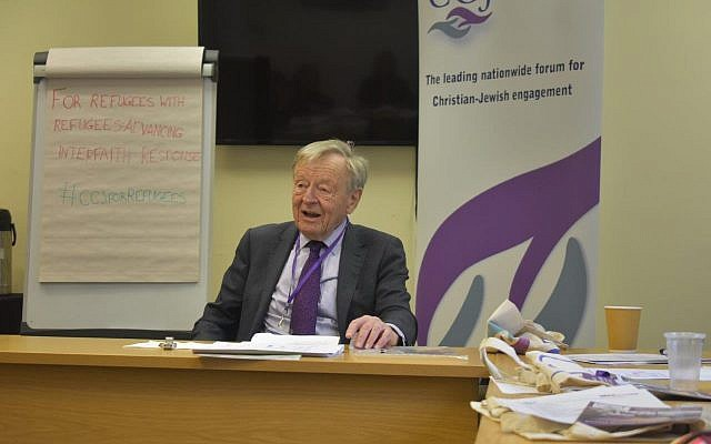 Lord Alf Dubs speaking to CCJ's refugee workshop for faith leaders in February 2019.